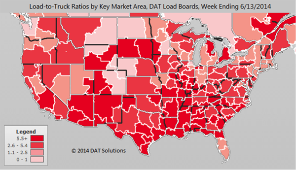 Load to Truck Ratios by Key Market Area